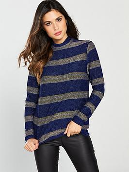 v-by-very-glitter-stripe-high-neck-top-navygold