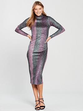 v-by-very-high-neck-glitter-stripe-bodycon-dress-multi