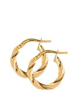 Love GOLD Love Gold 9Ct Gold 15Mm Round Twisted Hoop Earrings Picture