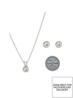 the-love-silver-collection-sterling-silver-clear-swarovski-crystal-earrings-and-pendant-necklace-set