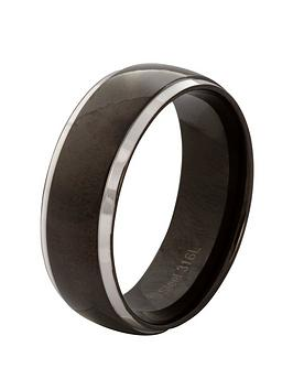 Very Stainless Steel & Black Mens Ring Picture