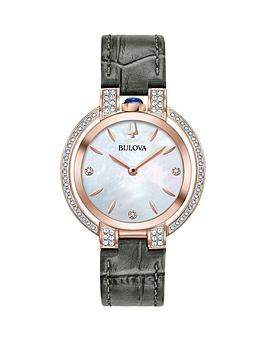 226227a53 Bulova Bulova Rubaiyat Mother of Pearl Rose Gold and Diamond Set Dial Grey  Leather Strap Ladies Watch | littlewoods.com