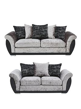 Very Alexa Fabric And Faux Leather 3 Seater + 2 Seater Scatter Back Sofa  ... Picture