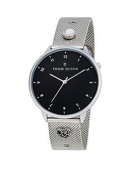 thom-olson-thom-olson-night-dream-black-dial-stainless-steel-mesh-bracelet-with-crystal-charms-ladies-watch