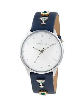 thom-olson-thom-olson-day-dream-white-dial-blue-leather-strap-with-cocktail-charms-ladies-watch