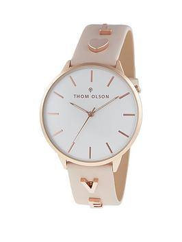 thom-olson-message-white-and-rose-gold-dial-nude-leather-strap-with-love-charms-ladies-watch