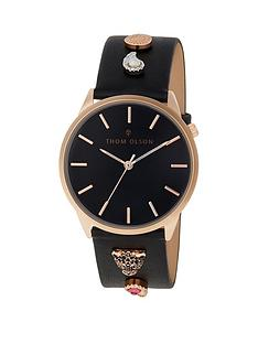 thom-olson-gypset-black-wild-rose-gold-dial-black-leather-strap-with-paisley-tiger-charms-ladies-watch