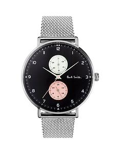 paul-smith-track-black-with-white-and-pink-multi-dial-stainless-steel-mesh-strap-watch