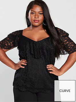 v-by-very-curve-lace-ruffle-sleeve-top-black