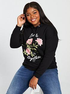 v-by-very-curve-floralnbspprint-hooded-top-black