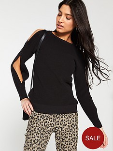 v-by-very-split-sleeve-jumper-black