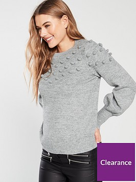 v-by-very-pom-pom-deep-cuff-jumper-grey