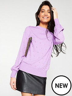 256536928d V by Very Bobble Stitch Blouson Sleeve Jumper - Lilac