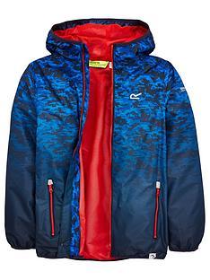 regatta-boys-printed-waterproof-lever-jacket-navy