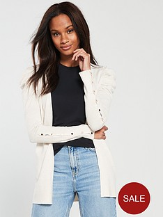 v-by-very-puff-shoulder-button-sleeve-cardigan-oatmeal-marl