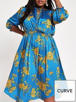 ri-plus-wrapped-printed-midi-dress-blue