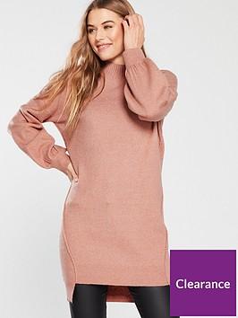 v-by-very-step-hem-turtleneck-slouch-knitted-jumper-dress