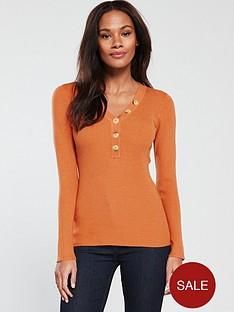 v-by-very-button-placket-skinny-rib-v-neck-jumper-marmalade