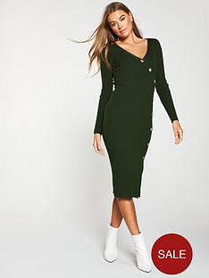 v-by-very-v-neck-side-button-skinny-rib-knitted-dress-khaki