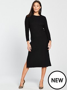v-by-very-rib-detail-knitted-midi-dress-blacknbsp