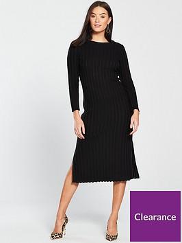 v-by-very-rib-detail-knitted-midi-dress-blacknbsp