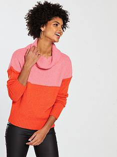 v-by-very-colourblock-roll-neck-jumper-pinkred