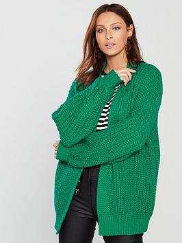 v-by-very-fisherman-rib-blouson-sleeve-cardigan-green