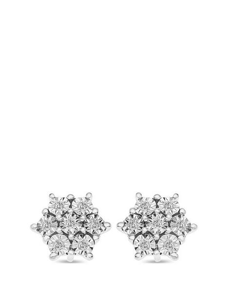 love-diamond-sterling-silver-8-point-diamond-cluster-stud-earrings