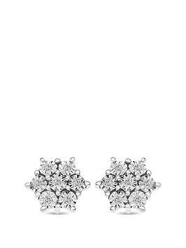 Love DIAMOND Love Diamond Sterling Silver 8 Point Diamond Cluster Stud  ... Picture