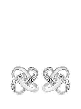 love-diamond-sterling-silver-diamond-set-knot-swirl-stud-earrings