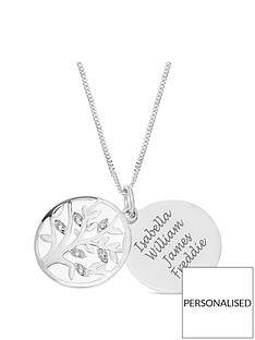 the-love-silver-collection-sterling-silver-cubic-zirconia-personalised-family-tree-round-pendant-necklace