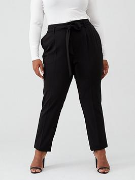V by Very Curve V By Very Curve Tie Waist Tapered Trouser - Black Picture