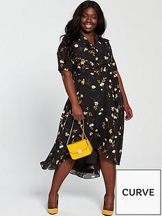 bc7728bf90717 V by Very Curve Printed Midi Dress - Floral Print