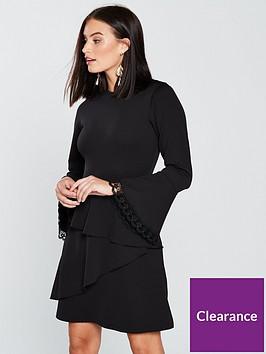 7e01e9f83e5d V by Very Lace Trim Flippy Skirt Dress - Black