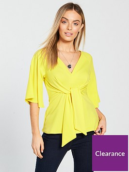 v-by-very-petite-tie-front-jersey-top-yellow