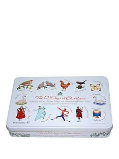 charbonnel-et-walker-12-days-of-christmas-large-square-tin-filled-with-assorted-biscuits-400g
