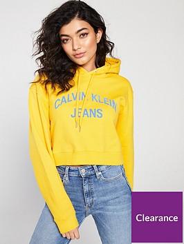 calvin-klein-institutional-logo-cropped-hoodie-lemon