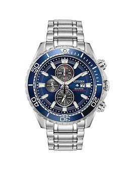 citizen-eco-drive-promaster-diver-blue-chronograph-dial-stainless-steel-bracelet-mens-watch