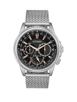 citizen-eco-drive-calendrier-world-time-black-and-rose-gold-detail-dial-stainless-steel-mesh-bracelet-mens-watch