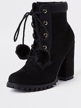 river-island-river-island-pom-pom-lace-up-boot-black