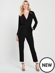 wallis-stud-wrap-jumpsuit-black