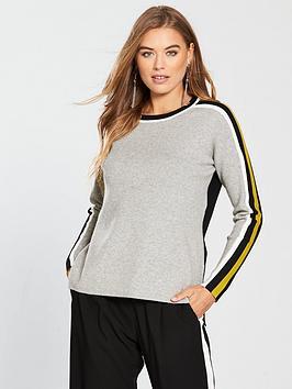wallis-flash-stripe-sleeve-jumper-grey
