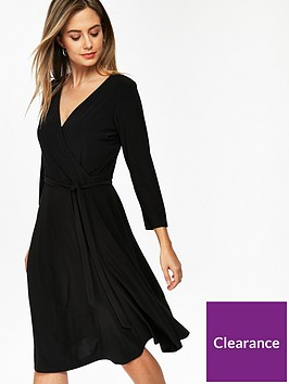 wallis-petite-wrap-jersey-dress-black