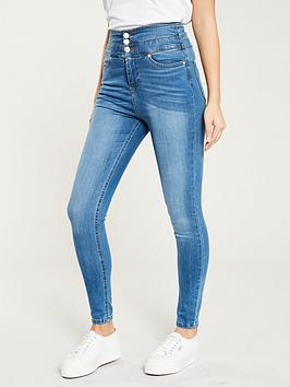 V by Very V By Very Macy High Waisted Skinny Jean - Mid Wash Picture