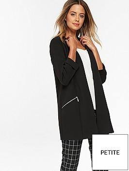 wallis-petite-scuba-longline-jacket-black
