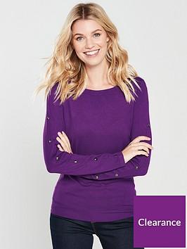wallis-stud-sleeve-top-violet
