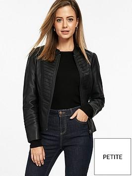 wallis-petite-khloe-gothic-pu-jacket-black