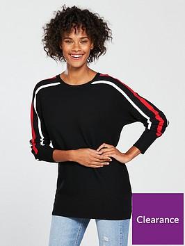 wallis-stripe-sleeve-backwing-ottoman-tunic-black