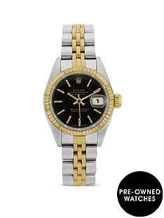 rolex-pre-owned-datejust-black-dial-two-tone-stainless-steel-bracelet-ladies-watch-with-original-rolex-certificate-69173
