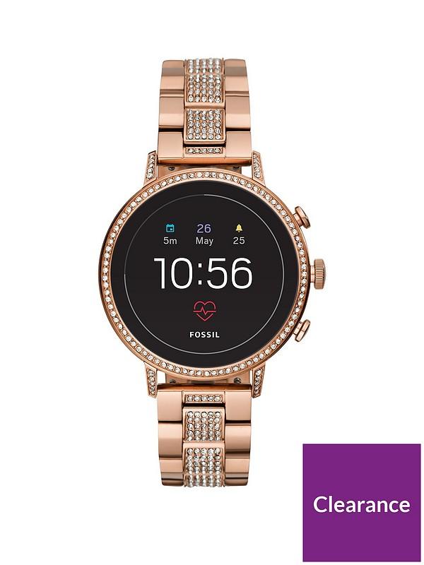 Fossil Fossil Q Venture Gen 4 Full Display Rose Gold Glitz Stainless Steel Bracelet Ladies Smartwatch Littlewoods Com